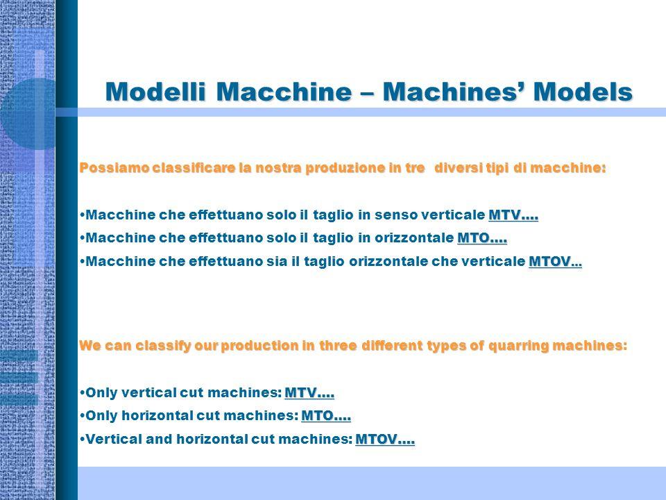 Modelli Macchine – Machines Models Possiamo classificare la nostra produzione in tre diversi tipi di macchine: MTV….Macchine che effettuano solo il taglio in senso verticale MTV….