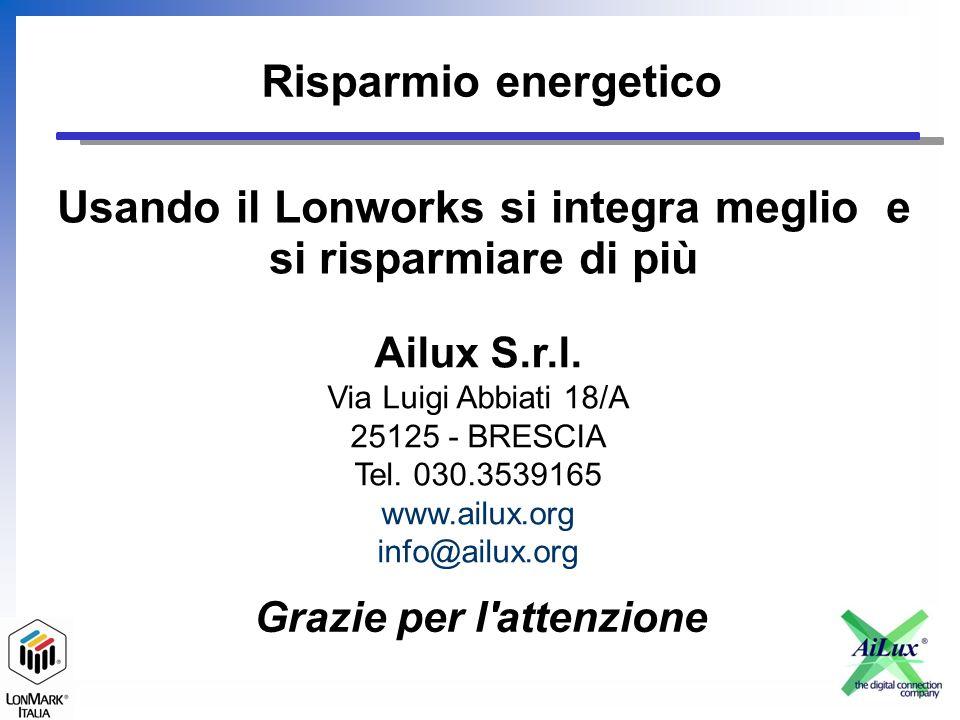 Risparmio energetico Ailux S.r.l. Via Luigi Abbiati 18/A 25125 - BRESCIA Tel.