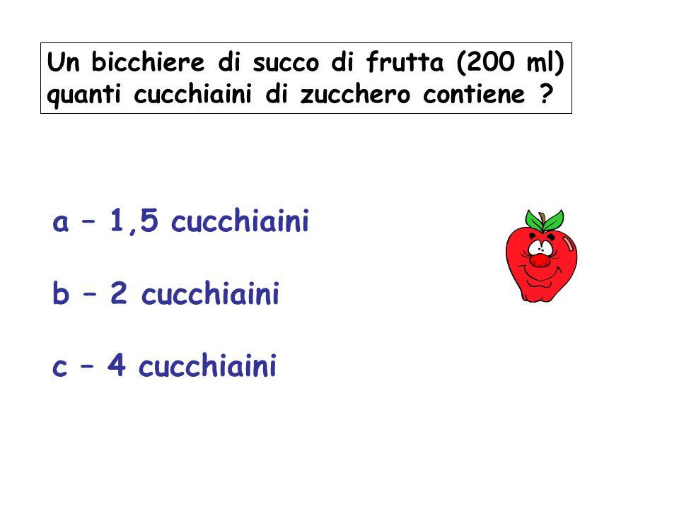 Un bicchiere di succo di frutta (200 ml) quanti cucchiaini di zucchero contiene ? a – 1,5 cucchiaini b – 2 cucchiaini c – 4 cucchiaini