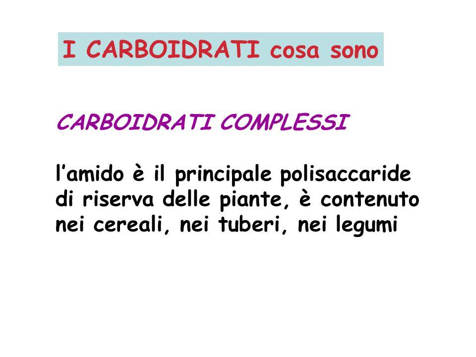 CARBOIDRATI COMPLESSI lamido è il principale polisaccaride di riserva delle piante, è contenuto nei cereali, nei tuberi, nei legumi I CARBOIDRATI cosa