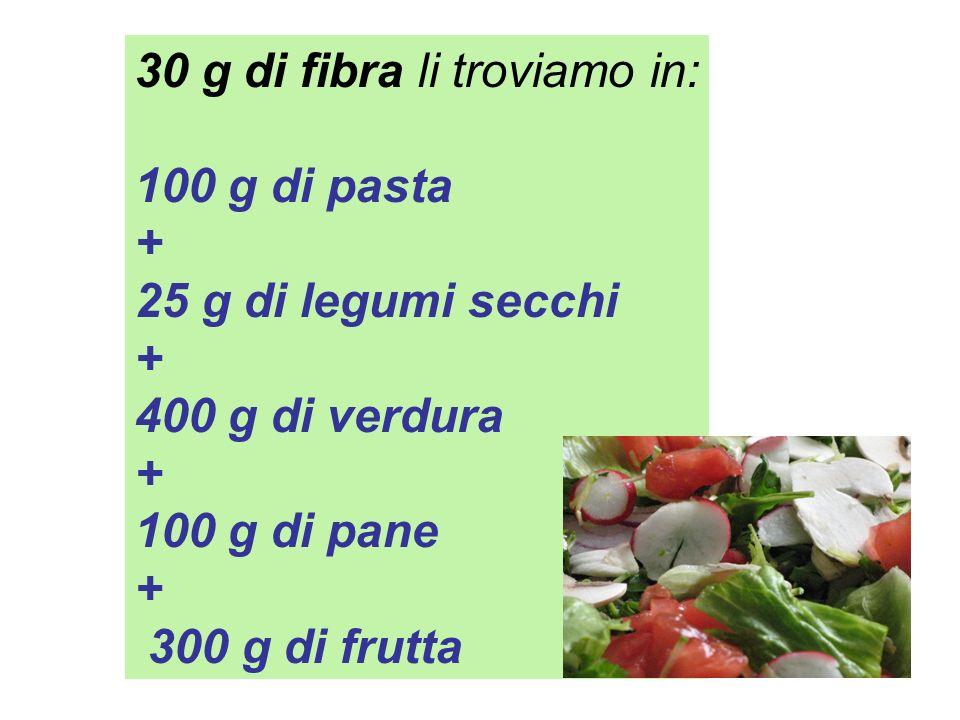 30 g di fibra li troviamo in: 100 g di pasta + 25 g di legumi secchi + 400 g di verdura + 100 g di pane + 300 g di frutta