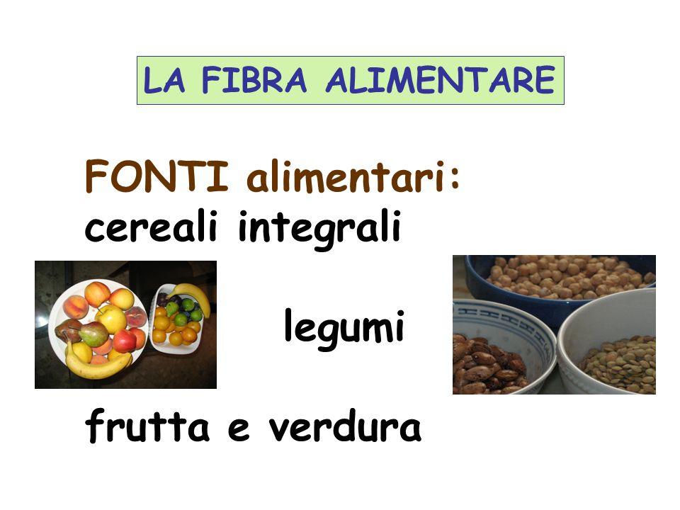 FONTI alimentari: cereali integrali legumi frutta e verdura LA FIBRA ALIMENTARE