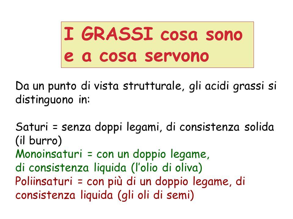 I GRASSI cosa sono e a cosa servono Da un punto di vista strutturale, gli acidi grassi si distinguono in: Saturi = senza doppi legami, di consistenza