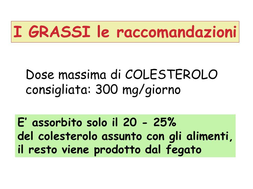 Dose massima di COLESTEROLO consigliata: 300 mg/giorno E assorbito solo il 20 - 25% del colesterolo assunto con gli alimenti, il resto viene prodotto