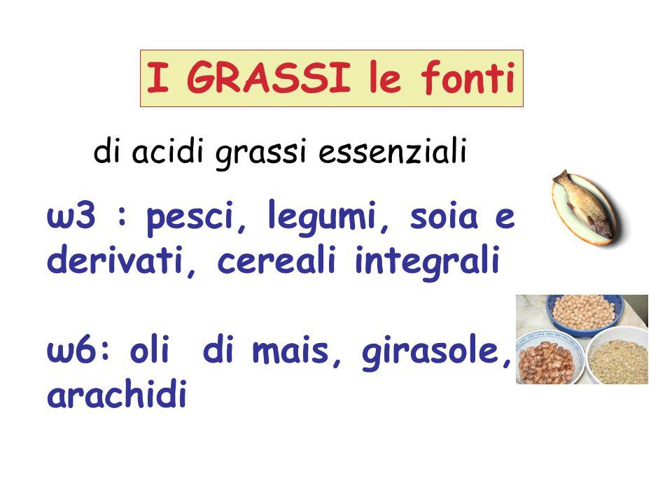 I GRASSI le fonti ω3 : pesci, legumi, soia e derivati, cereali integrali ω6: oli di mais, girasole, arachidi di acidi grassi essenziali