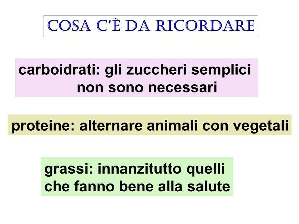 cosa cè da ricordare carboidrati: gli zuccheri semplici non sono necessari proteine: alternare animali con vegetali grassi: innanzitutto quelli che fa