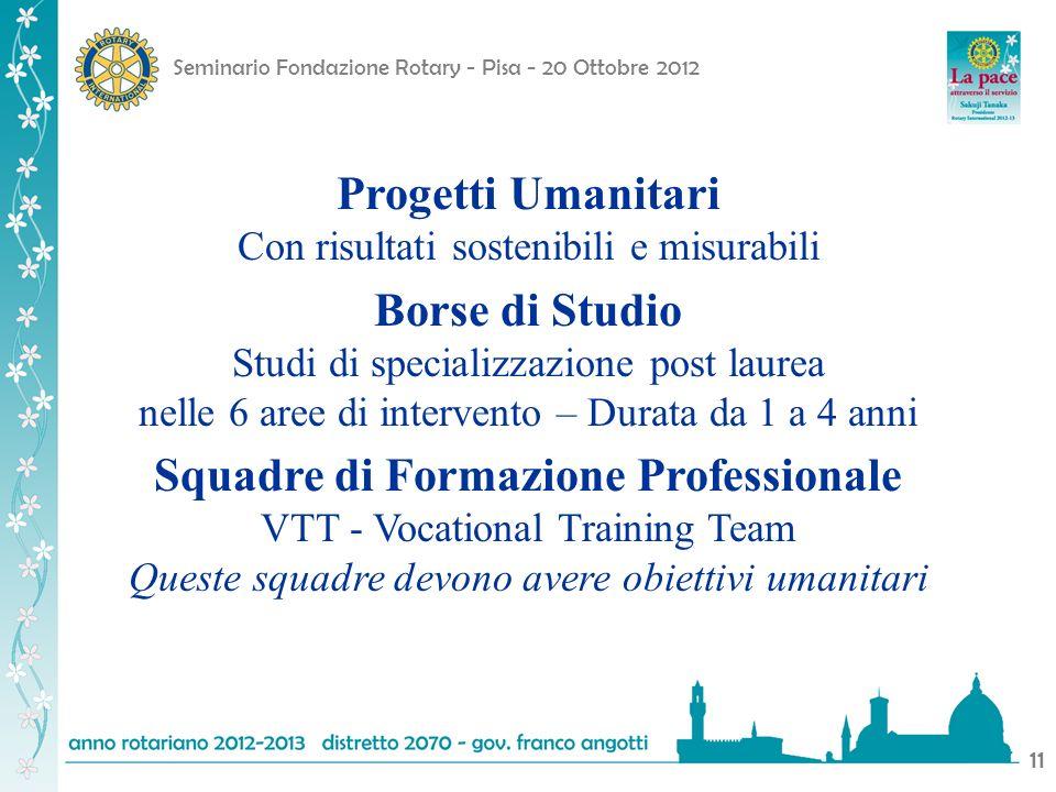 Seminario Fondazione Rotary - Pisa - 20 Ottobre 2012 11 Progetti Umanitari Con risultati sostenibili e misurabili Borse di Studio Studi di specializza