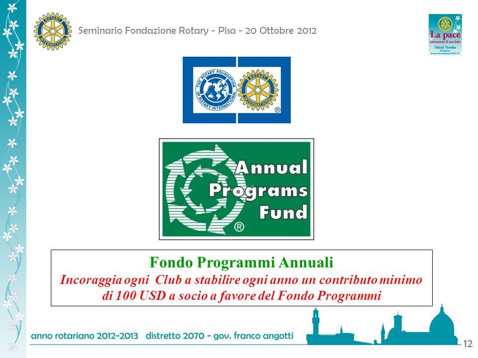 Seminario Fondazione Rotary - Pisa - 20 Ottobre 2012 12 Fondo Programmi Annuali Incoraggia ogni Club a stabilire ogni anno un contributo minimo di 100