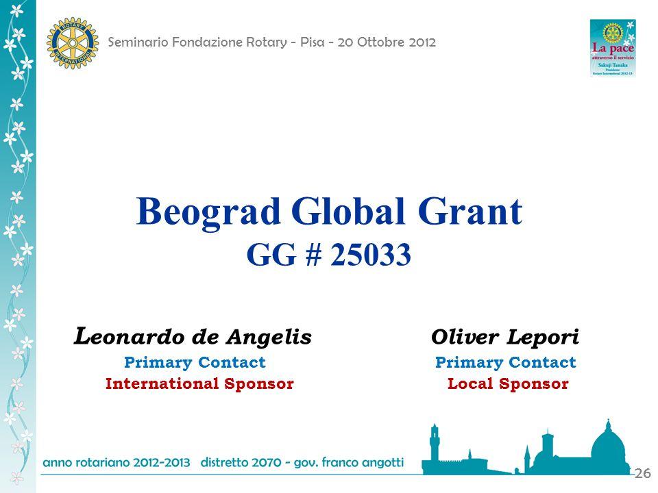 Seminario Fondazione Rotary - Pisa - 20 Ottobre 2012 26 Beograd Global Grant GG # 25033 L eonardo de Angelis Oliver Lepori Primary Contact Primary Con