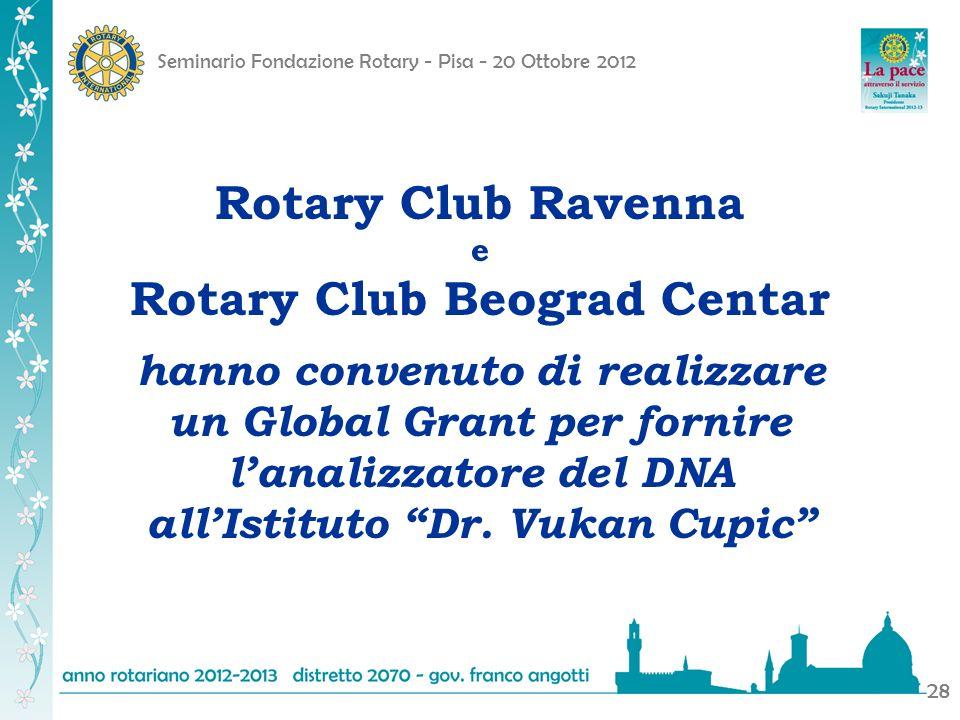 Seminario Fondazione Rotary - Pisa - 20 Ottobre 2012 28 Rotary Club Ravenna e Rotary Club Beograd Centar hanno convenuto di realizzare un Global Grant