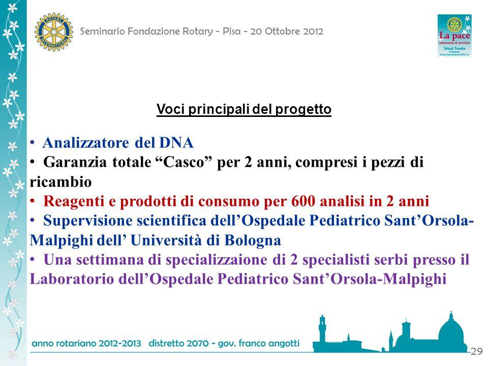 Seminario Fondazione Rotary - Pisa - 20 Ottobre 2012 29 Voci principali del progetto Analizzatore del DNA Garanzia totale Casco per 2 anni, compresi i