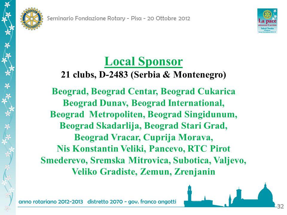 Seminario Fondazione Rotary - Pisa - 20 Ottobre 2012 32 Local Sponsor 21 clubs, D-2483 (Serbia & Montenegro) Beograd, Beograd Centar, Beograd Cukarica