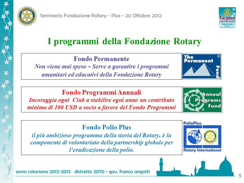 Seminario Fondazione Rotary - Pisa - 20 Ottobre 2012 5 I programmi della Fondazione Rotary. Fondo Permanente Non viene mai speso – Serve a garantire i