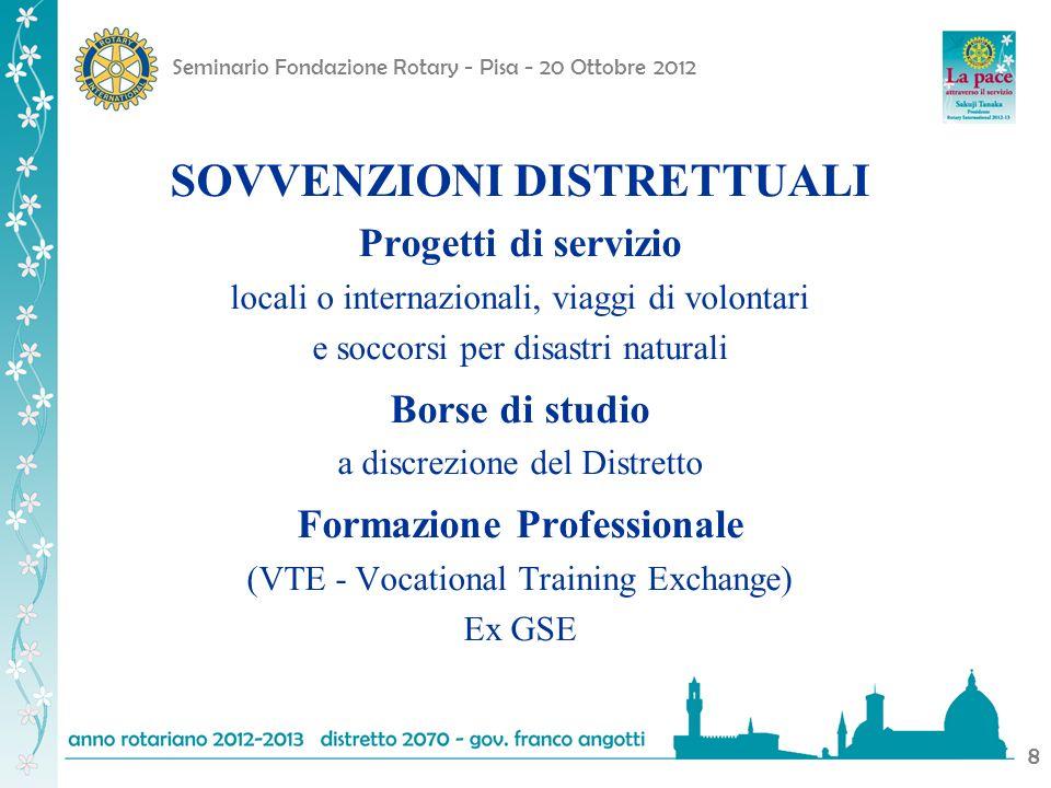 Seminario Fondazione Rotary - Pisa - 20 Ottobre 2012 8 SOVVENZIONI DISTRETTUALI Progetti di servizio locali o internazionali, viaggi di volontari e so