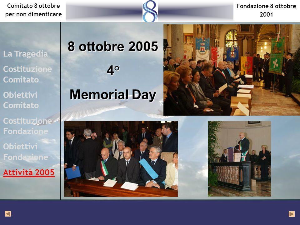 Fondazione 8 ottobre 2001 Comitato 8 ottobre per non dimenticare La Tragedia Costituzione Comitato Obiettivi Comitato Costituzione Fondazione Obiettivi Fondazione Attività 2005 8 ottobre 2005 4° Memorial Day