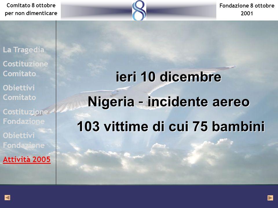 Fondazione 8 ottobre 2001 Comitato 8 ottobre per non dimenticare La Tragedia Costituzione Comitato Obiettivi Comitato Costituzione Fondazione Obiettivi Fondazione Attività 2005 ieri 10 dicembre Nigeria – incidente aereo 103 vittime di cui 75 bambini 103 vittime di cui 75 bambini