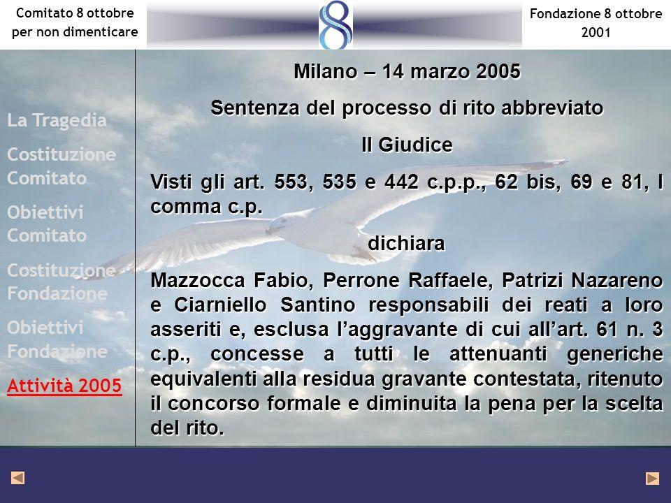 Fondazione 8 ottobre 2001 Comitato 8 ottobre per non dimenticare La Tragedia Costituzione Comitato Obiettivi Comitato Costituzione Fondazione Obiettivi Fondazione Attività 2005 Visti gli art.
