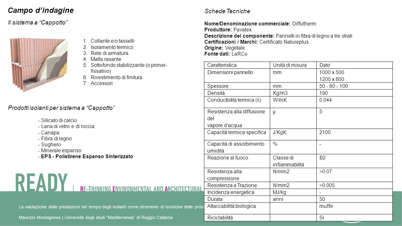 Campo dindagine Il sistema a Cappotto 1.Collante e/o tasselli 2.Isolamento termico 3.Rete di armatura 4.Malta rasante 5.Sottofondo stabilizzante (o primer- fissativo) 6.Rivestimento di finitura 7.Accessori Prodotti isolanti per sistema a Cappotto - Silicato di calcio - Lana di vetro e di roccia - Canapa - Fibra di legno - Sughero - Minerale espanso - EPS - Polistirene Espanso Sinterizzato Schede Tecniche Nome/Denominazione commerciale: Diffutherm Produttore: Pavatex Descrizione del componente: Pannelli in fibra di legno a tre strati.