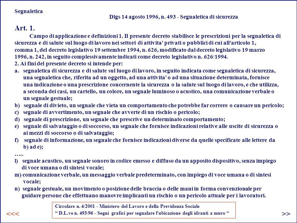 Segnaletica Dlgs 14 agosto 1996, n.493 - Segnaletica di sicurezza Art.