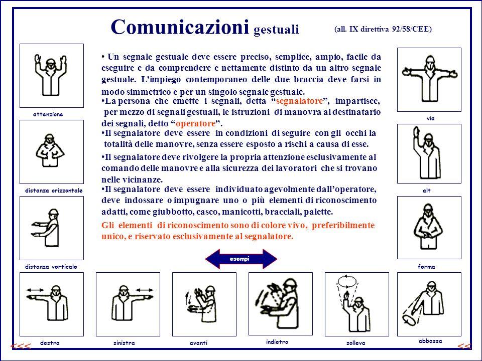 Comunicazioni gestuali Un segnale gestuale deve essere preciso, semplice, ampio, facile da eseguire e da comprendere e nettamente distinto da un altro segnale gestuale.