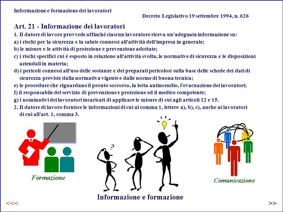 Informazione e formazione dei lavoratori Art.21 - Informazione dei lavoratori 1.