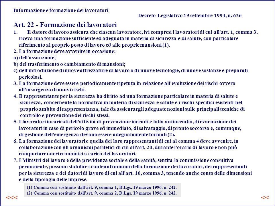 Informazione e formazione dei lavoratori Decreto Legislativo 19 settembre 1994, n.