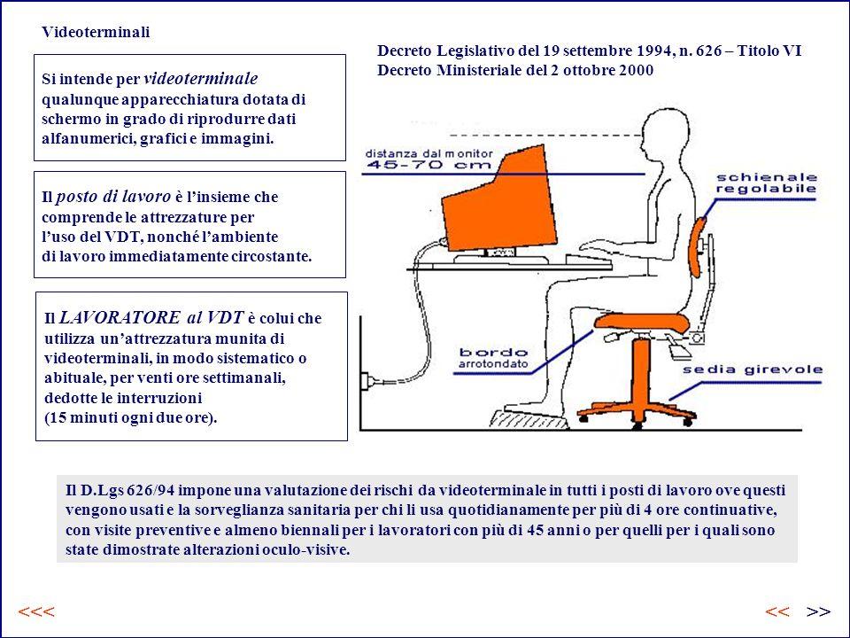 Videoterminali Si intende per videoterminale qualunque apparecchiatura dotata di schermo in grado di riprodurre dati alfanumerici, grafici e immagini.