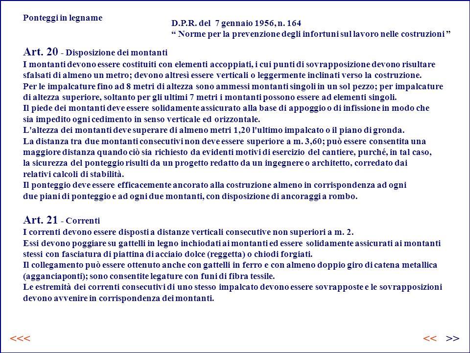 Art. 20 - Disposizione dei montanti I montanti devono essere costituiti con elementi accoppiati, i cui punti di sovrapposizione devono risultare sfals