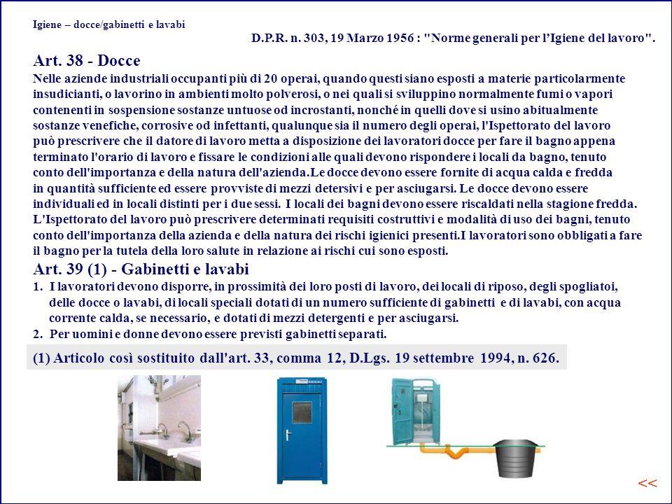 Igiene – docce/gabinetti e lavabi Art.