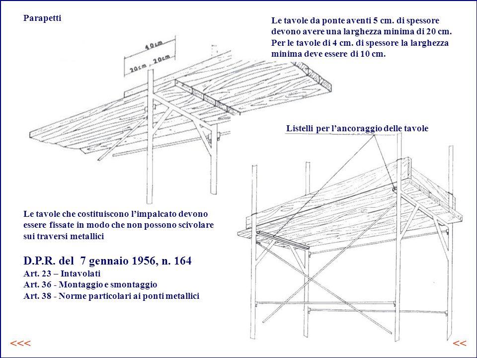 Parapetti Le tavole da ponte aventi 5 cm.di spessore devono avere una larghezza minima di 20 cm.