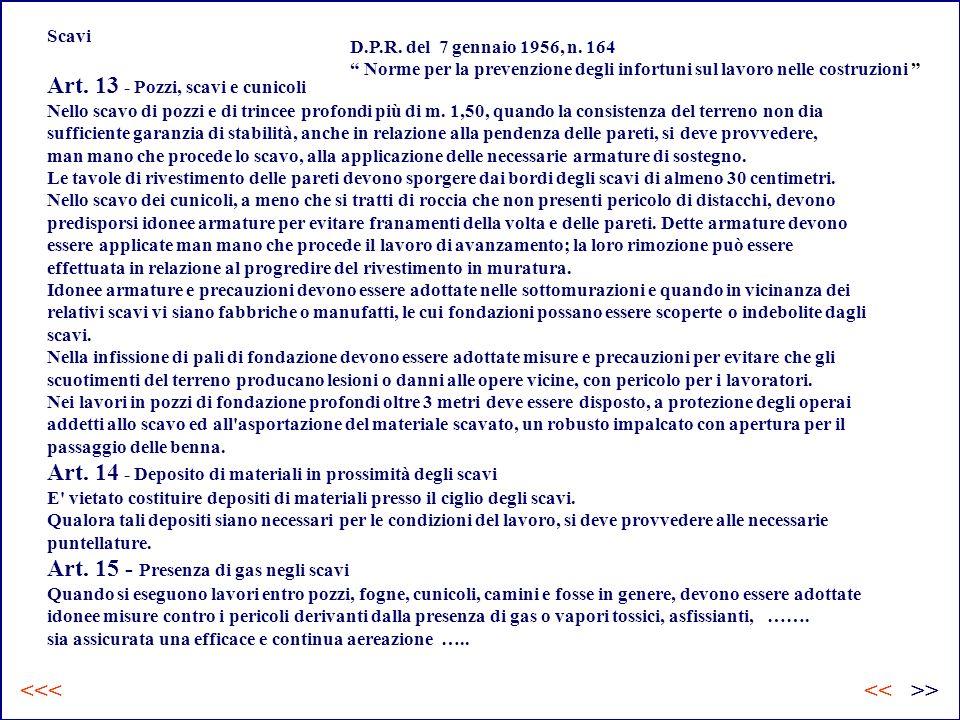 Scavi Art.13 - Pozzi, scavi e cunicoli Nello scavo di pozzi e di trincee profondi più di m.