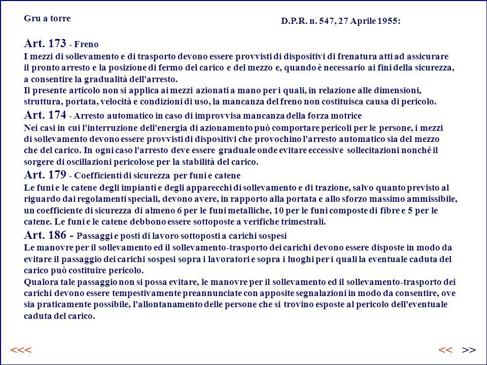 Gru a torre D.P.R.n. 547, 27 Aprile 1955: Art.