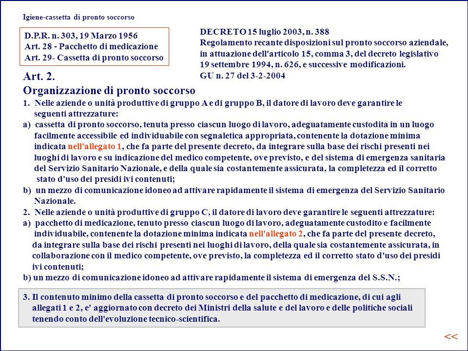 Igiene-cassetta di pronto soccorso DECRETO 15 luglio 2003, n.