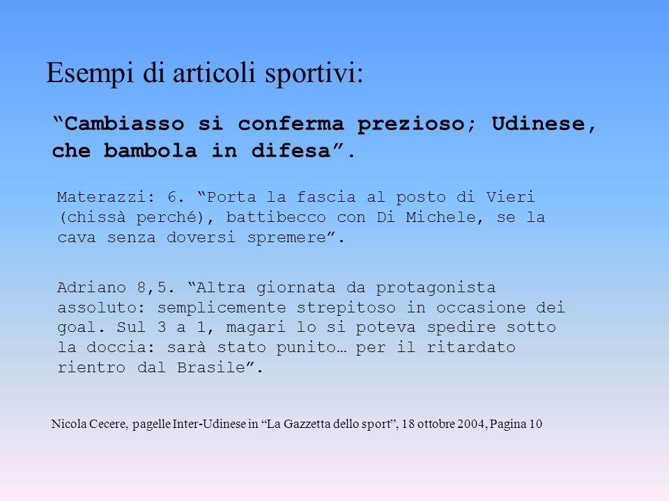 Esempi di articoli sportivi: Cambiasso si conferma prezioso; Udinese, che bambola in difesa. Materazzi: 6. Porta la fascia al posto di Vieri (chissà p