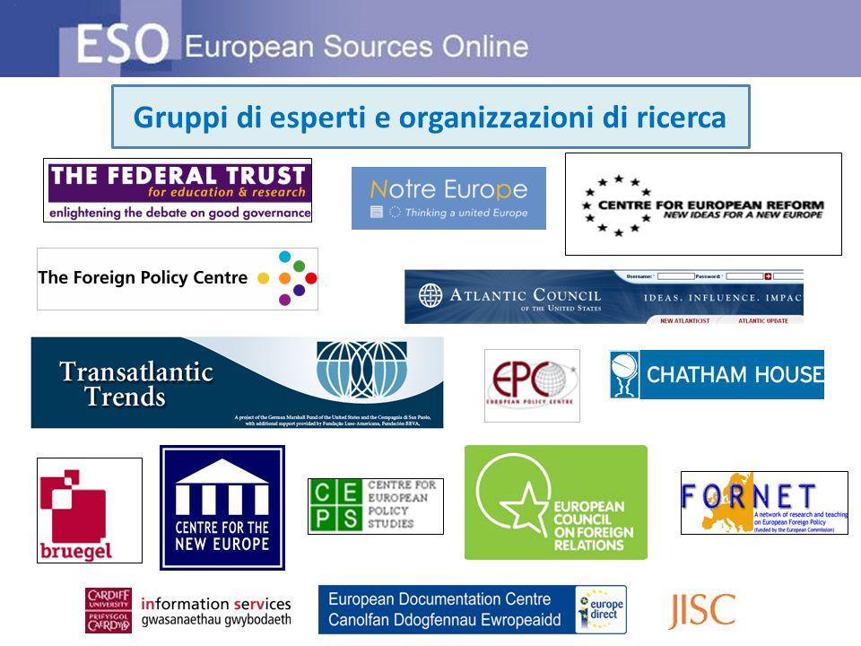 Gruppi di esperti e organizzazioni di ricerca