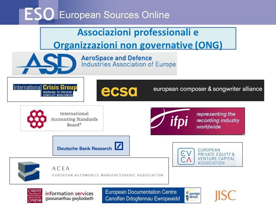 Associazioni professionali e Organizzazioni non governative (ONG)