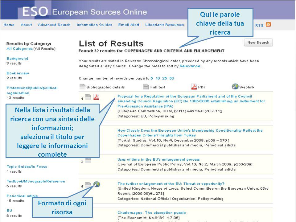 Formato di ogni risorsa Qui le parole chiave della tua ricerca Nella lista i risultati della ricerca con una sintesi delle informazioni; seleziona il titolo per leggere le informazioni complete