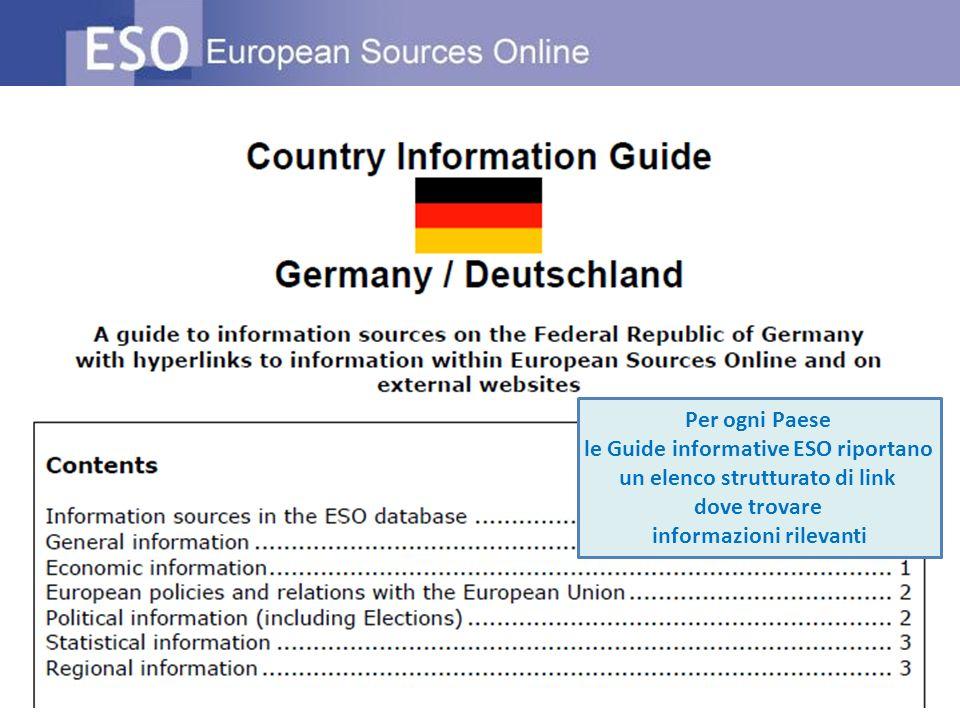 Per ogni Paese le Guide informative ESO riportano un elenco strutturato di link dove trovare informazioni rilevanti