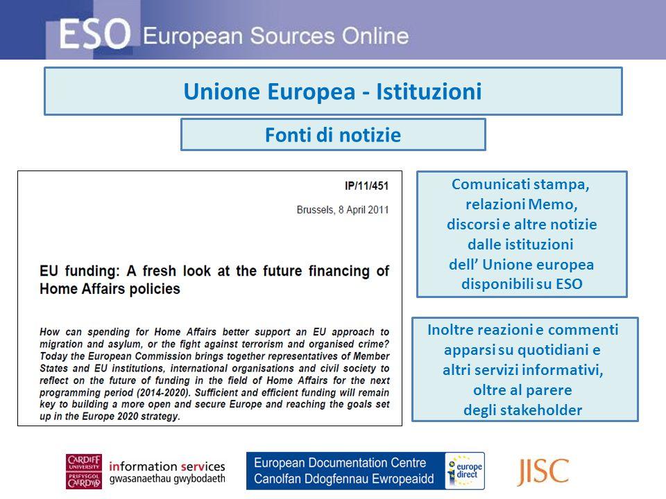 Unione europea - Istituzioni Statistiche Statistiche di EUROSTAT e di altre organizzazioni disponibili su ESO