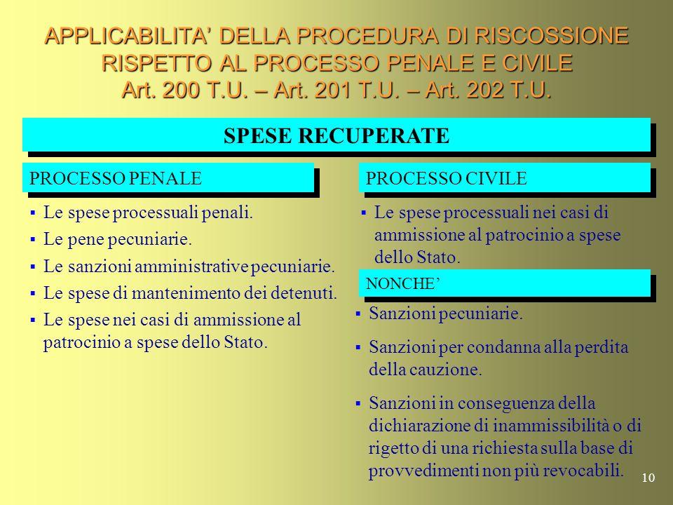 9 SPESE NEL PROCESSO CIVILE (Art. 8 T.U.) Nel processo civile ciascuna parte provvede alle spese degli atti processuali che compie e di quelli che chi