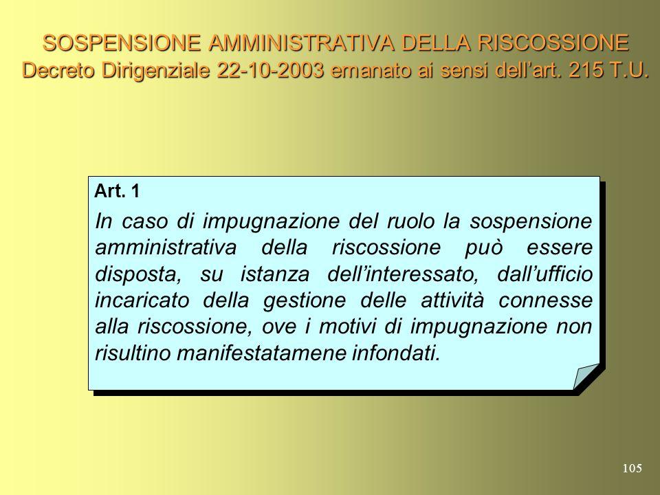 104 SOSPENSIONE AMMINISTRATIVA DELLA RISCOSSIONE (Art. 215 T.U.) In applicazione dellart. 28 del D.L.gs. 26-2-1999, n.46, in caso di impugnazione del