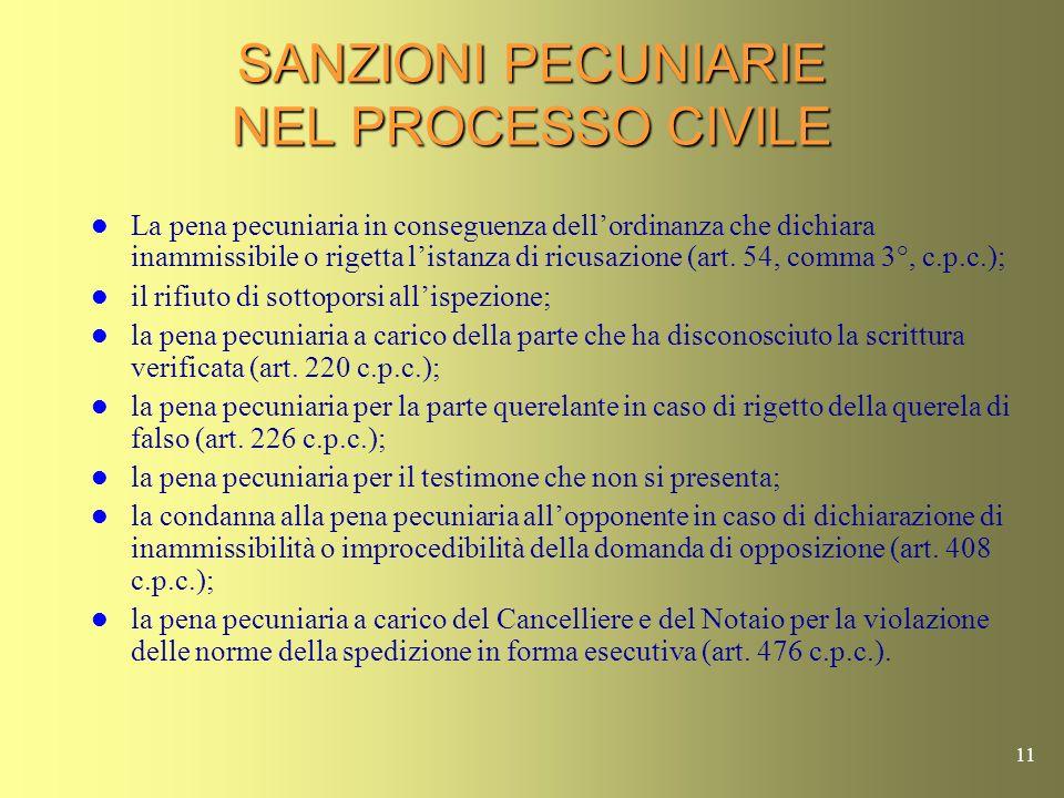 10 APPLICABILITA DELLA PROCEDURA DI RISCOSSIONE RISPETTO AL PROCESSO PENALE E CIVILE Art. 200 T.U. – Art. 201 T.U. – Art. 202 T.U. Le spese processual