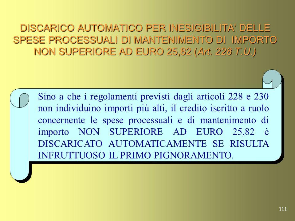 110 ESTINZIONE LEGALE DI CREDITI RELATIVI A SPESE PROCESSUALI E DI MANTENIMENTO DI UN CERTO IMPORTO (Art.287 T.U.) Sino allemanazione del regolamento previsto dallart.228 per limporto di cui allart.