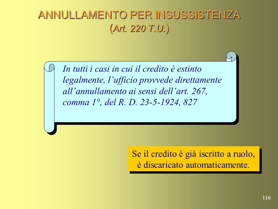 115 ANNULLAMENTO DEL CREDITO PER IRREPERIBILITA E POSSIBILE REVIVISCENZA (Art.
