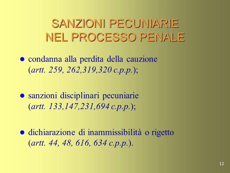 11 SANZIONI PECUNIARIE NEL PROCESSO CIVILE La pena pecuniaria in conseguenza dellordinanza che dichiara inammissibile o rigetta listanza di ricusazione (art.