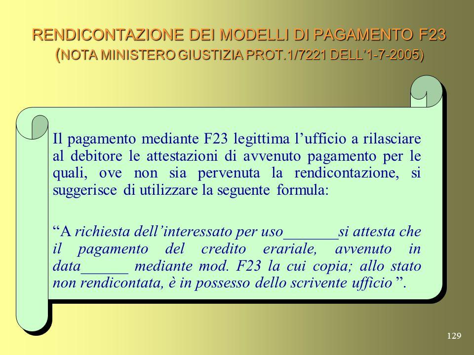 128 RENDICONTAZIONE DEI MODELLI DI PAGAMENTO F23 ( Nota MINISTERO GIUSTIZIA Prot.1/7221 dell1-7-2005) Lart. 5, comma 3, del Decreto Ministero delle Fi