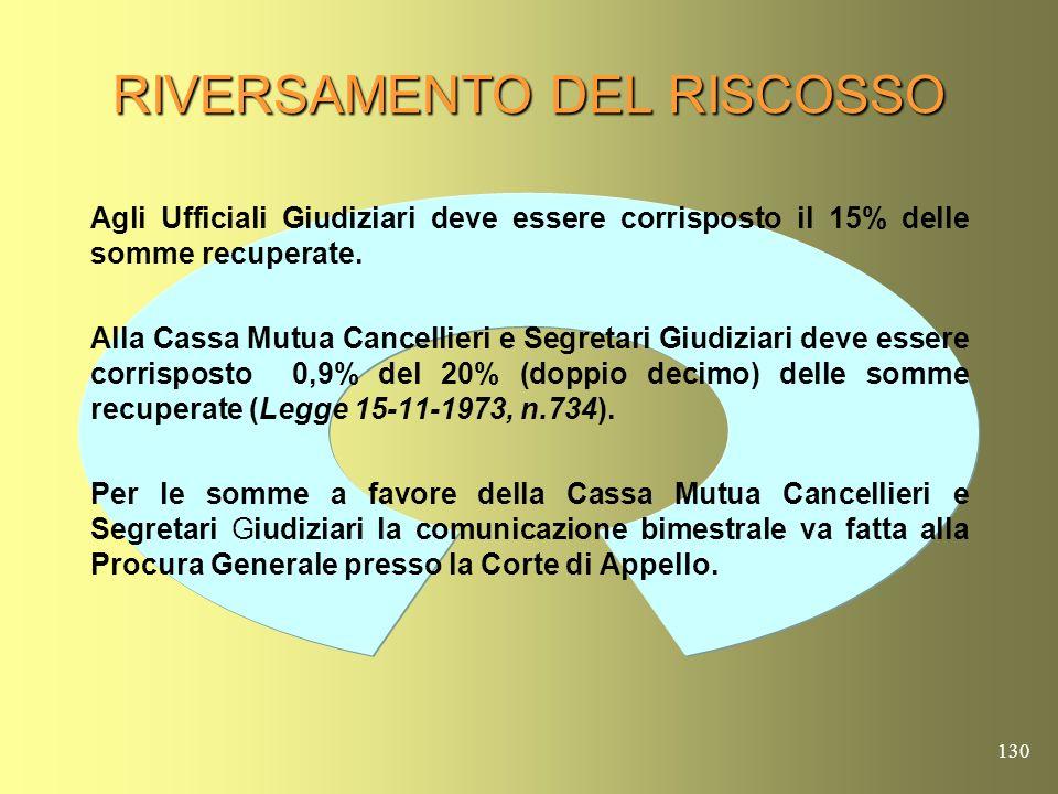 129 RENDICONTAZIONE DEI MODELLI DI PAGAMENTO F23 ( NOTA MINISTERO GIUSTIZIA PROT.1/7221 DELL1-7-2005) Il pagamento mediante F23 legittima lufficio a r