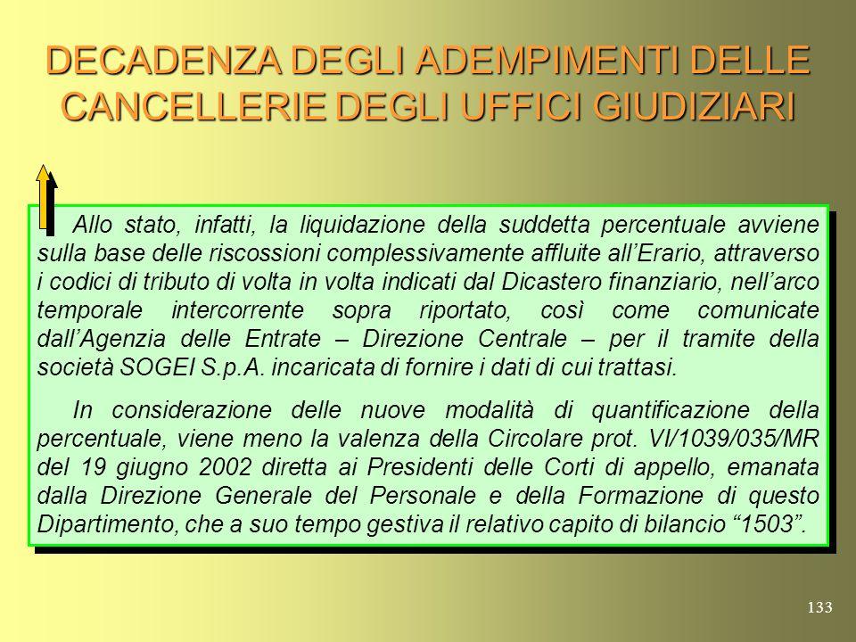 132 DECADENZA DEGLI ADEMPIMENTI DELLE CANCELLERIE DEGLI UFFICI GIUDIZIARI Il Ministero della Giustizia con nota prot.