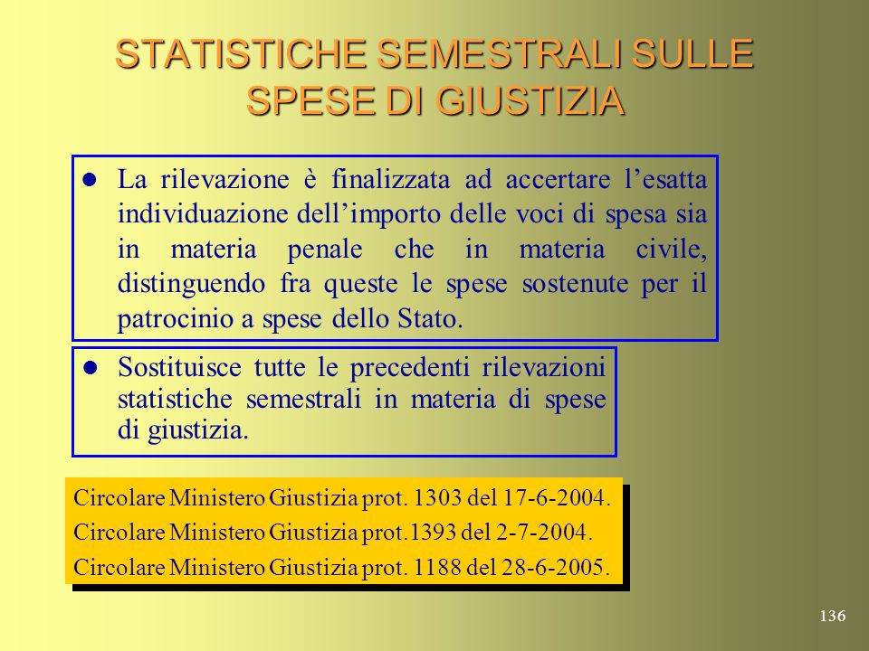 135 STATISTICHE SEMESTRALI