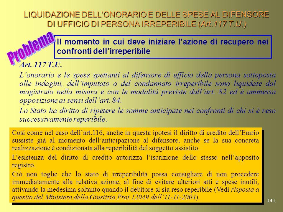 140 LIQUIDAZIONE DELLONORARIO E DELLE SPESE AL DIFENSORE DI UFFICIO (Art.116 T.U.) Art. 116 T.U. Lonorario e le spese spettanti al difensore di uffici